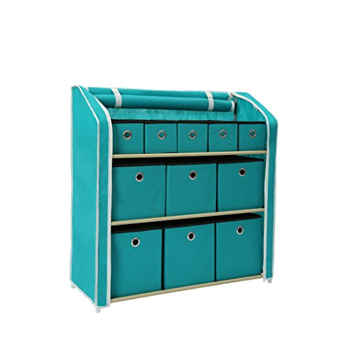 Storage Chest Decorative (Homebi Multi-Bin Storage Shelf 11 Drawers Storage Chest Linen Organizer Closet Cabinet with Zipper Covered Foldable Fabric Bins and Sturdy Metal Shelf Frame in Turquoise,31