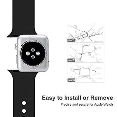 Band for Apple Watch 38mm 42mm, Sivir Soft Silicone Sport Strap Replacement Bracelet Wristband for Apple Watch Series 3, Series 2, Series 1, Nike+, Edition, S/M M/L Size