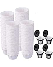 Paper Filters for Reusable K Cups, 500 PCS Disposable Paper Coffee Filters with 4 Reusable K Cups for Keurig 1.0 and 2.0 Brewers