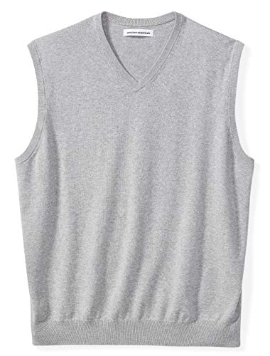 Amazon Essentials Men's Big & Tall V-Neck Sweater Vest, Light Gray Heather, 4X Tall
