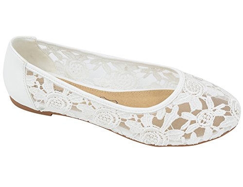 Greatonu Women Shoes Cut Out Slip On Synthetic Lace Ballet Flats (39 EU/8 US, White)