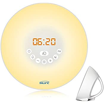 Wake Up Light, INLIFE Alarm Clock Sunrise Simulation Fading Night Light for Bedroom, with 7 Colors, Nature Sounds, FM Radio, Snooze Function, Touch Control