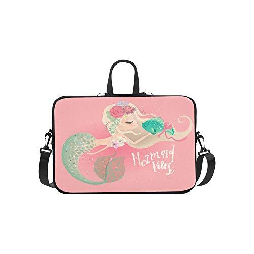 Cute Mermaid Floral Flowers Wreath Bouquet Briefcase Laptop Bag Messenger Shoulder Work Bag Crossbody Handbag for Business Travelling
