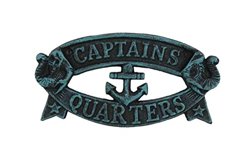 Hampton Nautical Cast Iron Decoration Captain's Quarters Sign Metal Wall Plaque, 9