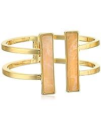 "T Tahari ""Lincoln Center"" Double Hinge Bar Gold Cuff Bracelet"