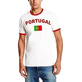 Coole-Fun-T-Shirts WM 2018Portugal T-Shirt avec Votre nom + Numéro. Portugese Maillot de Football pour Homme Blanc S M L XL XXL