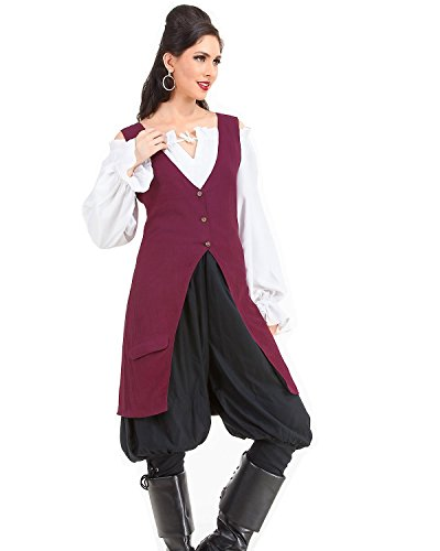 Elizabeth Pirate Renaissance Medieval Womens Costume Linen Vest (X-Large) for $<!--$33.95-->