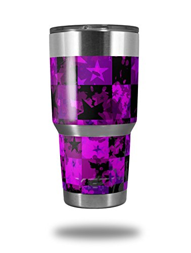 Skin Decal Wrap for Yeti Tumbler Rambler 30 oz Purple Star Checkerboard (TUMBLER NOT INCLUDED) by WraptorSkinz
