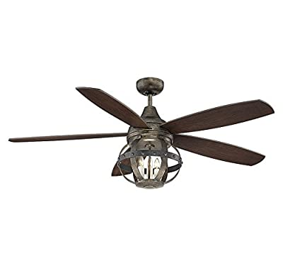 Savoy House Lighting 52-840-5CN-196 Alsace 3 Light 5-Blade Damp-Rated Ceiling Fan with Chestnut Blades, 52-Inch, Reclaimed Wood Finish