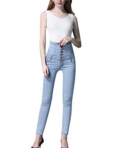 ZiXing Nuevo Tipo de Mujer Cuatro Botones Skinny Denim Mameluco Mono Babero Pantalones Largos Azul 1