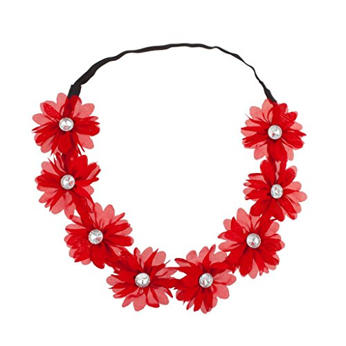 - Lux Stretch Fit Floral Headband Head Crown Flower Crown Head Piece Synthetic ruby Red