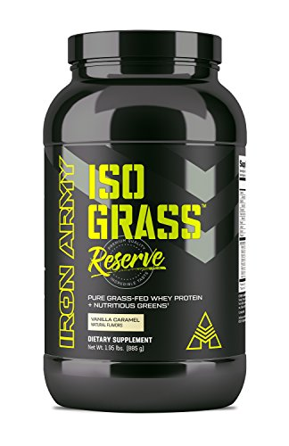 Iron Army Isograss | Premium Natural Grass Fed Whey Protein Isolate, Probiotics, MCT, Spirulina, Barley Grass, Greens | Vanilla Caramel | 30 Servings