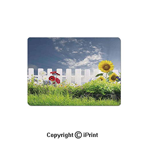 - Large Gaming Mouse Pad Grass Foliage Field with Sunflowers Daisy Hedge Fence Yard Jardin Extended Mat Desk Pad Mousepad Non-Slip Rubber Mice Pads 9.8