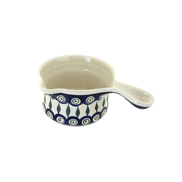 Blue Rose Polish Pottery Peacock Sauce Pot