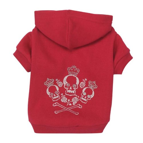 Zack & Zoey Crowned Crossbone Dog Hoodie, XX-Small, 6-Inch, Raspberry Sorbet