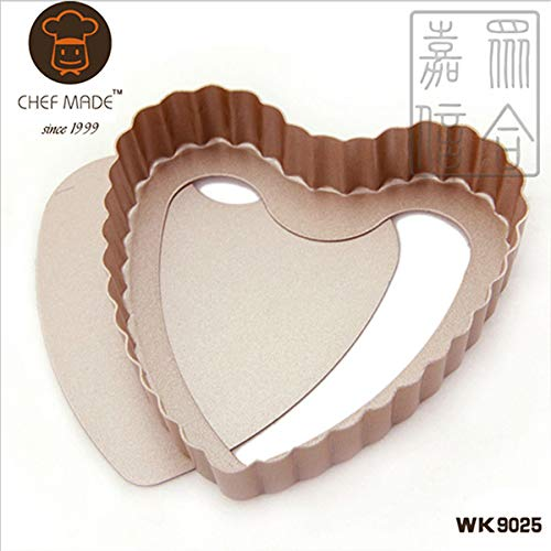 1 piece 4 Mini Tart & Quiche Pan ROUND/HEART SHAPE FLUTED FLAN TIN NONS-TICK LOOSE BASE BOTTOM QUICHE PIE PAN BAKING DISH TRAY