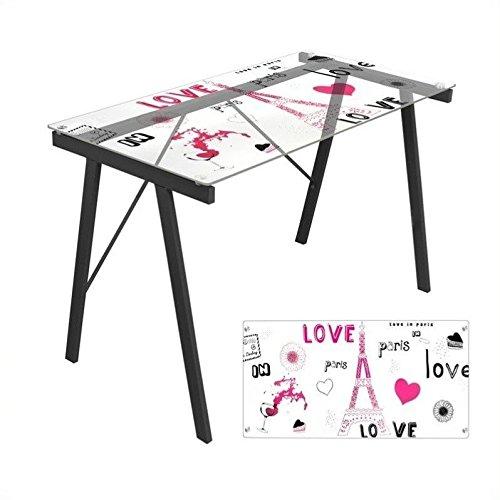 LumiSource Love in Paris Exponent Desk, Black