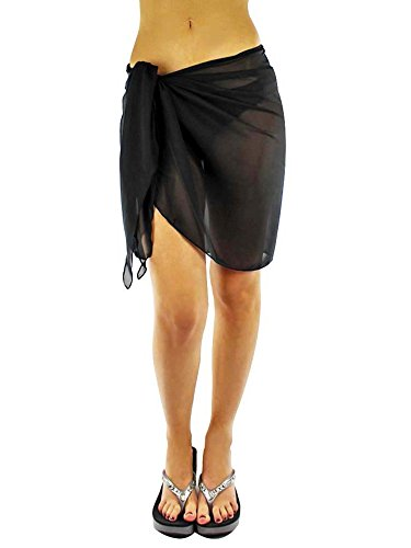 Luxury Divas Womens Black Short Sarong Wrap Cover ()