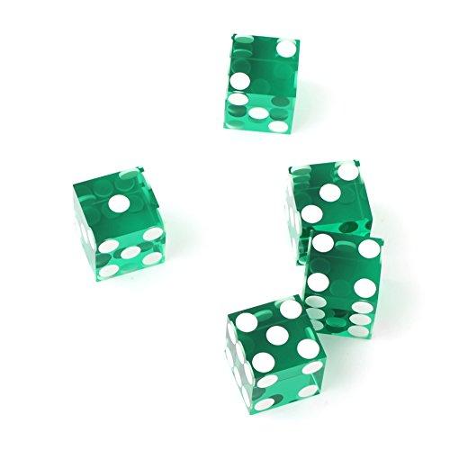 Edge Dice - Set of 5 Green 19mm Precision Casino Dice with Razor Edges