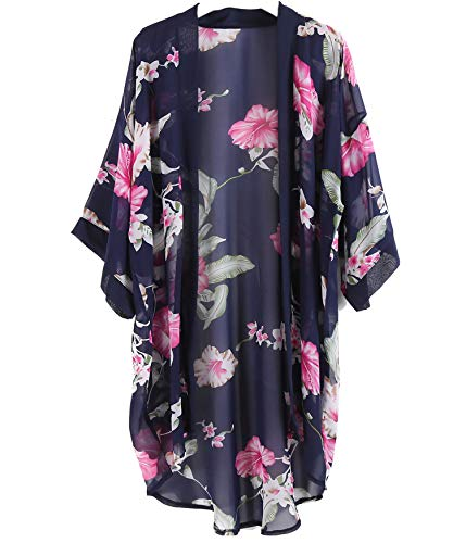 Outrip Women Swimsuit Bathing Suit Beach Cover up Chiffon Floral Kimono Cardigan (Navy Blue with Rose Flower)