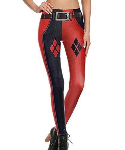 Mosszra Joker Harley Quinn Digital Print Fashion Tight Long Pants Leggings -