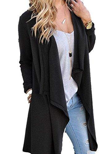 Mitario Femiego Casual Light Weight Long Sleeve Cardigan Sweater Black M