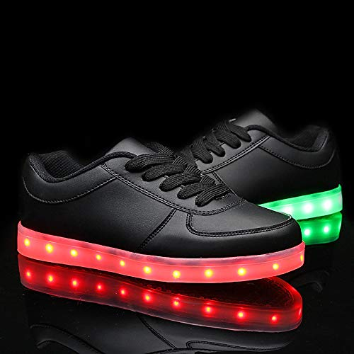 Otoño Sneakers Poliuretano ZHZNVX Light Zapatos Up Black PU Heel Comfort Primavera LED Negro de Flat Shoes Blanco Mujer PSYIIxqw1