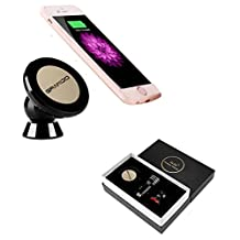 Wireless Car Charger,GRANDO 360° Rotation Magnetic Phone Car Mount Stand Holder QI Standard Charging Receiver Pad for iPhone 6 Plus/6s Plus (Black)