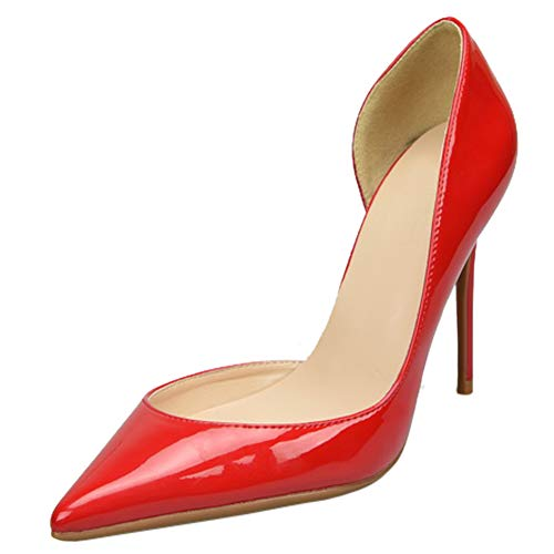 Stiletto Donna Rosso Pelle Eu A Alto Tacco Cm Da Eu Verniciata Nero Scarpe 32 nude rosso 46 Col bianco 10 Punta Rq8xg