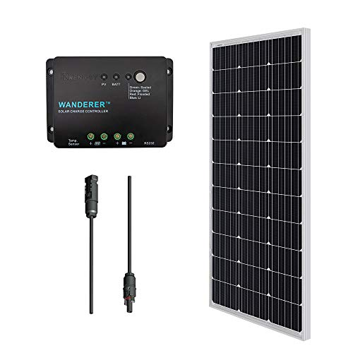 Renogy 100 Watts 12 Volts Monocrystalline Solar Panel Bundle Kit with 30A Negative ground Charge Controller 9in MC4 Adaptor Kit