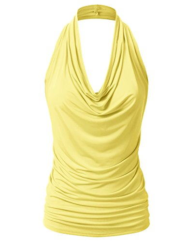 (EIMIN Women's Casual Halter Neck Draped Front Sexy Backless Tank Top Yellow M )