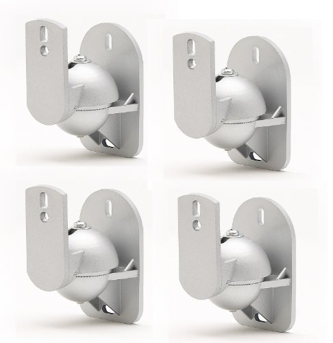 (TechSol 4 Pack of Universal Silver Speaker Wall Mount Swivel and Tilt Brackets Complete with Fitting Hardware)