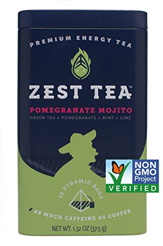 Energy Tea (2-Pack) - High Caffeine Pomegranate Mojito Green - 140 Mg Of Caffeine Per Bag (30 ()