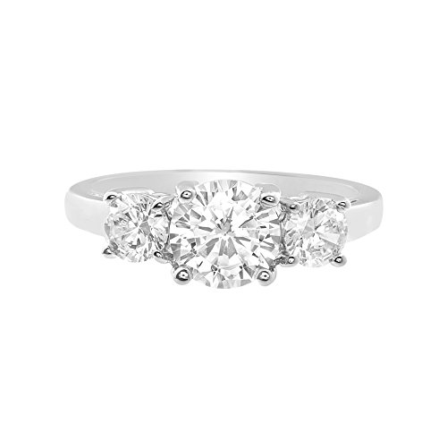 Devin Rose Three Stone Round Cut Cubic Zirconia Anniversary/Engagement Ring for Women in 925 Sterling Silver (Size 8) ()