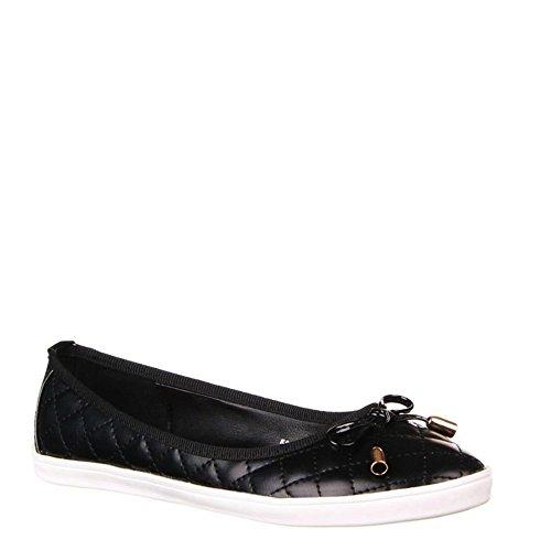 King Of Shoes Damen Ballerinas Slipper Halbschuhe Flats Schuhe Htw Schwarz 50448
