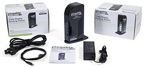 Plugable USB-C Triple Display Docking Station with Charging Support/Power Delivery for Specific Windows and Mac USB Type-C and Thunderbolt 3 Systems by Plugable (Image #3)