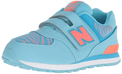 New Balance Girls' Iconic 574 Hook and Loop Sneaker, Enamel Blue/Dragonfly, 12 W US Little Kid ()