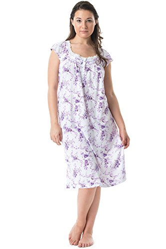 Embroidered Floral Nightgown - Casual Nights Womens Cap Sleeves Floral Lace Night Gown- Purple,Floral/Purple,X-Large
