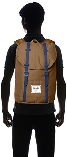 Herschel Supply Co. Retreat Backpack 4 Backpack featuring magnetic buckle straps at front, reinforced base, and front logo patch Contoured adjustable shoulder straps Pockets: 1 exterior