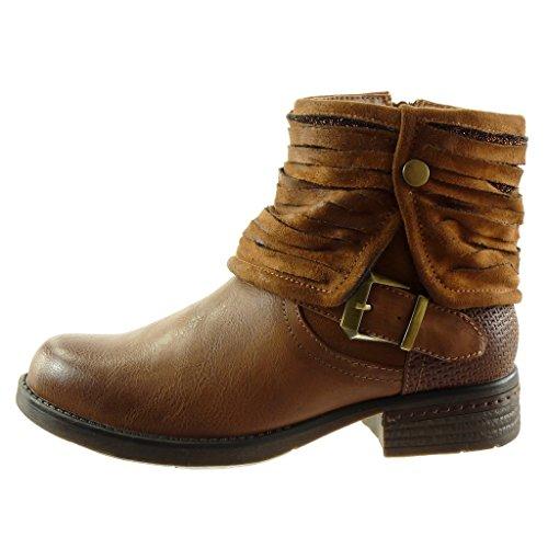 Angkorly - damen Schuhe Stiefeletten - Biker - Reitstiefel - Kavalier - Classic - Multi-Zaum - Schleife - Geflochten Blockabsatz 3 CM Camel