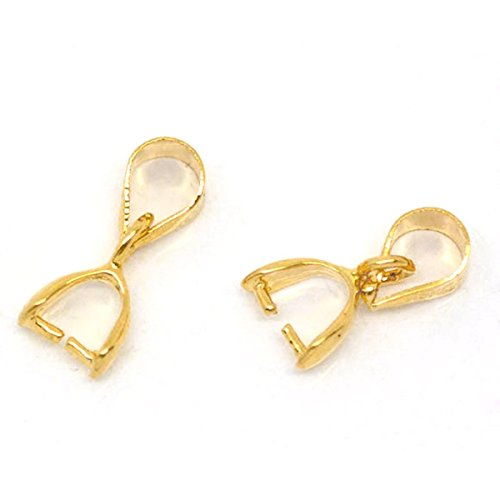 Housweety 50 Gold Plated Pinch Clip Bail Beads Findings (Bail Clasp)