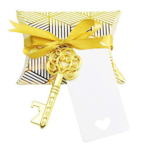 Cool Wedding Favors (Aokbean 50pcs Wedding Favor Souvenir Gift Set Pillow Candy Box Vintage Skeleton Key Bottle Openers Escort Thank You Tag French Ribbon)