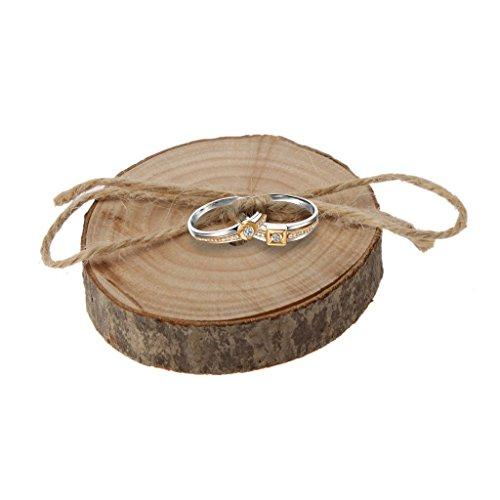 Veewon Rustikale Shabby Chic Hochzeit Holz-Ring-Kissen Träger Jute Seil Runde