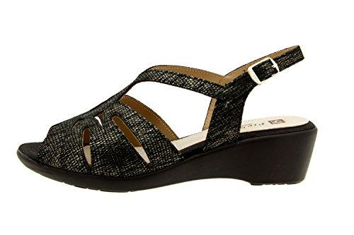 mujer confort 8555 piel Carbón cómodo cuña sandalia ancho de Calzado zapato Piesanto gqRdfwOgWx