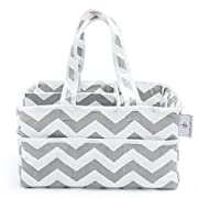 [Strong Washable Baby Diaper Caddy] 100% Cotton Canvas - Portable Large Gray and White Chevron Nursery Storage Bin and Car Organizer by Gracie and Belle - Perfect Baby Shower Gift