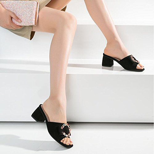CN39 sandals Rhinestone Color flop High flip and stylish Thick Sandals heel Black Size EU39 Female BLACK UK6 XY Black heel Apricot color Simple summer qBv08T