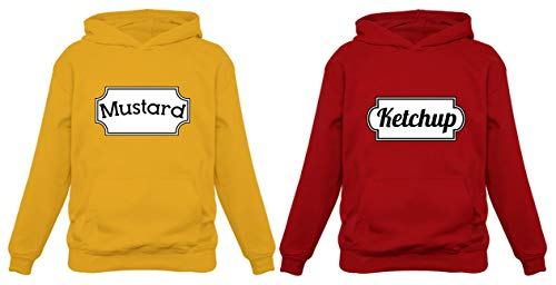Ketchup & Mustard Matching Couple Halloween Set Easy Costume Unisex Hoodies Mustard Hoodie Large Yellow/Small Red]()