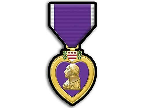 MAGNET 2x4 inch Purple Heart Medal Shaped Sticker - merit honor ribbon military army us Magnetic vinyl bumper sticker sticks to any metal fridge, car, signs