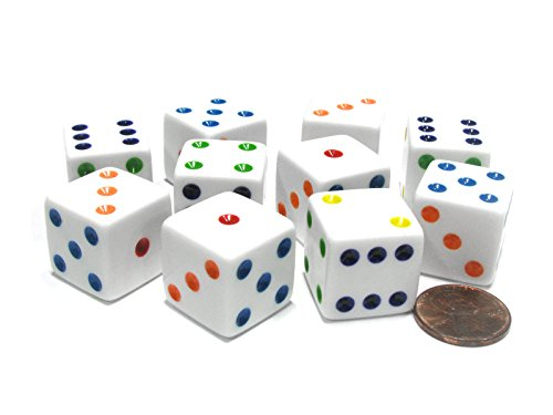 Price comparison product image Set of 10 Large Six Sided Square Opaque 19mm D6 Dice - White with Multicolor Pip