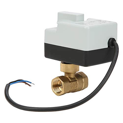 - Motorized Ball Valve, AC 220V Brass Electromagnetic Valve DN15 G1/2 Thread Connection 3 Wire 2 Way for Air Conditioner